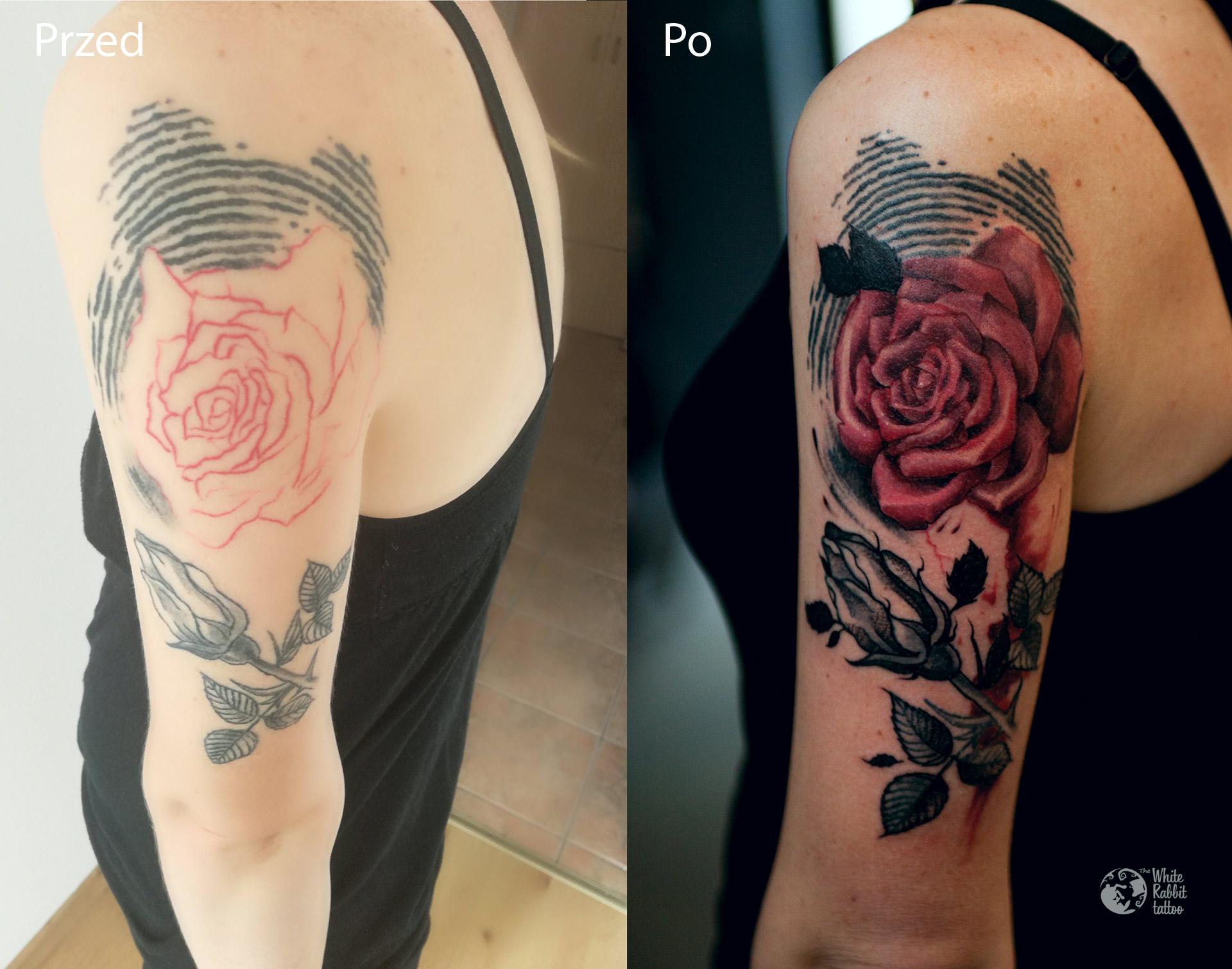 Poprawa tatuażu róża