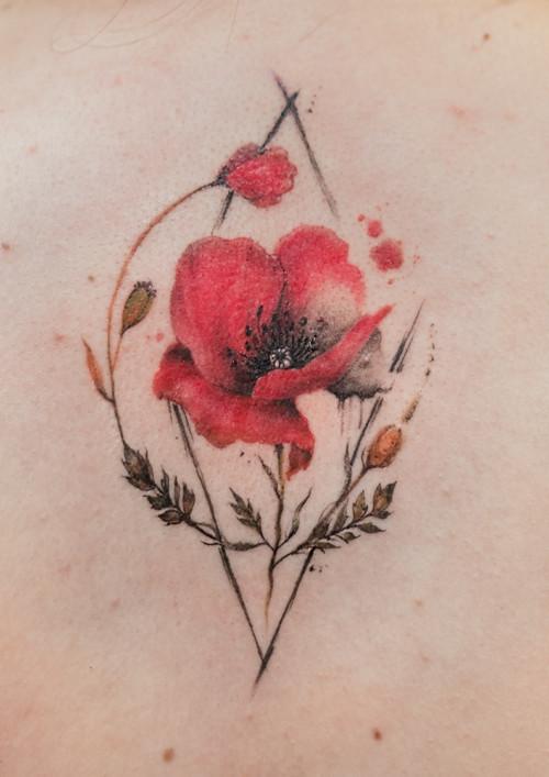 Mikro tatuaże - mak